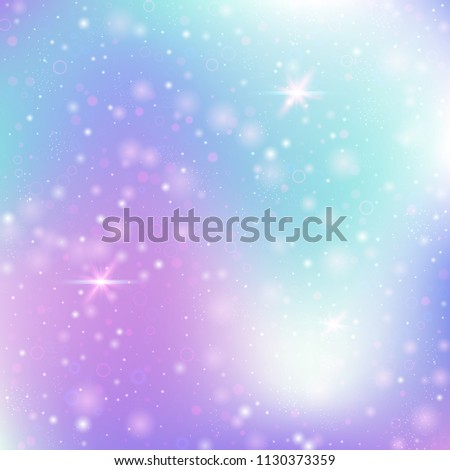 Unicorn background with rainbow mesh. Multicolor universe banner in princess colors. Fantasy gradient backdrop with hologram.  Holographic unicorn background with magic sparkles, stars and blurs.