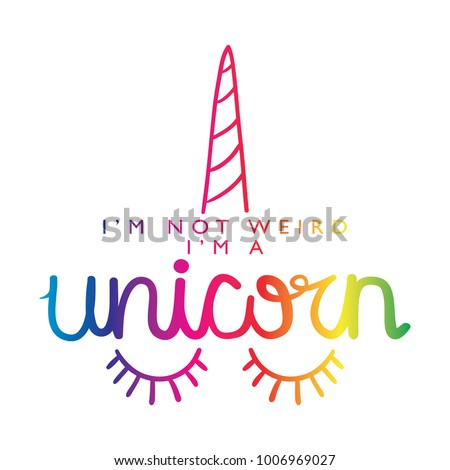 Stock Photo Unicorn calligraphy and horn in rainbow colors / Textile graphic t shirt print / Vector illustration design
