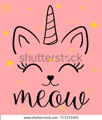 unicorn cat illustration print design for kid clothes.