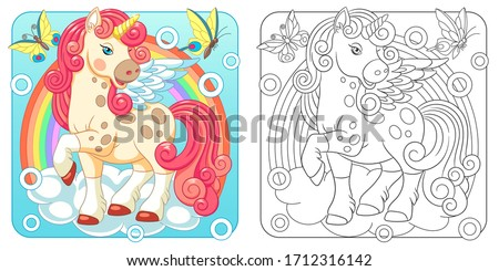 Unicorn coloring pages. Cartoon fantasy creature. Cute line art design for nursery poster, t shirt print, kids apparel, greeting card, label, patch or sticker. Vector illustration. Stock photo ©