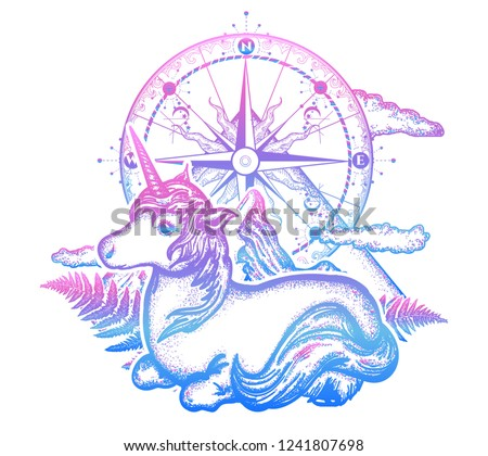 f66dce0e3d1be Unicorn, compass and mountains in the circle tattoo, celtic style. Great  outdoors.