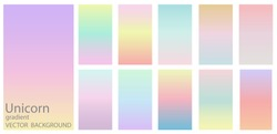 Unicorn cotton candy gradient theme color transitions vector template colorful sweet background graphic display design for web.