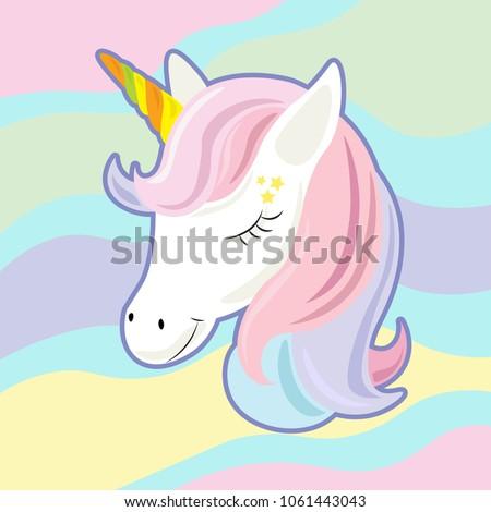 unicorn cute cartoon in flat