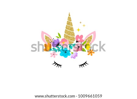 Unicorn cute illustration - card and shirt design