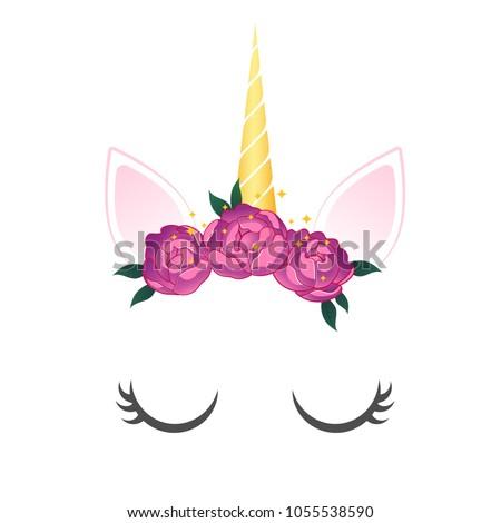 Unicorn cute illustration. Unicorn with  wreath. Card, shirt, party, wedding design
