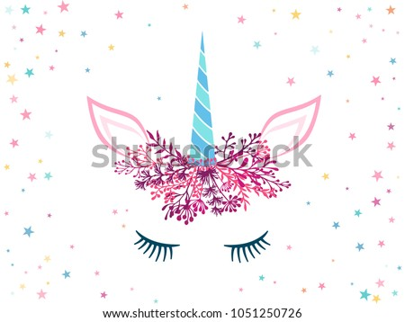 Unicorn cute illustration with stars - card and shirt print design. Funny unicorn print, trendy meme card. Colorful vector illustration with unicorn in pink magenta and cyan blue trendy colors.