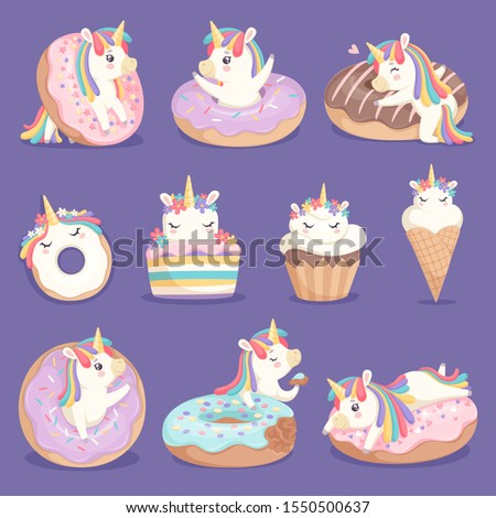 unicorn donuts cute face and