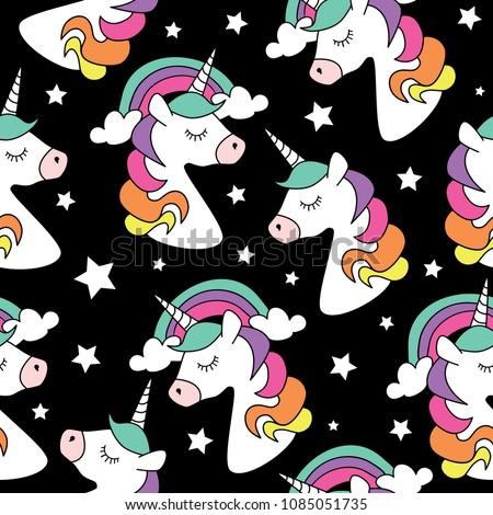 Unicorn drawings on black background seamless repeating pattern texture / Vector illustration design for fashion fabrics, textile graphics, prints, wallpapers, wrapping papers and other uses.