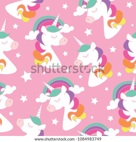 Unicorn drawings on pink seamless repeating pattern texture / Vector illustration design for fashion fabrics, textile graphic, prints, wallpapers, cards and other uses.