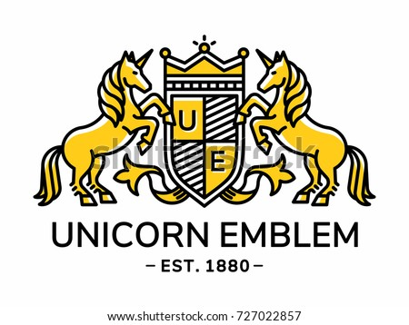 Unicorn emblem heraldry line style with shield and crown - vector illustration, logo design on white background
