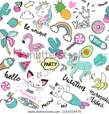 Unicorn, flamingo, toucan, cat. Cute cartoon pop art elements seamless pattern