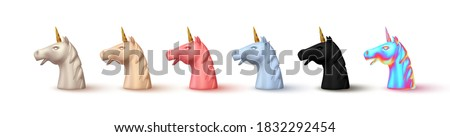 Unicorn head is realistic. Set of Abstract face unicorn 3d object. Isolated on white background. collection of horses with one horn. Vector illustration