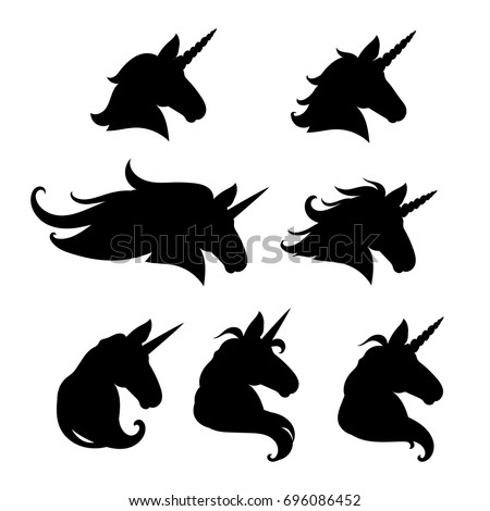 Unicorn head silhouette set. Hand drawn Vector illustration. Unicorn Logotype isolated on white. Magic animal profile. Easy to edit.