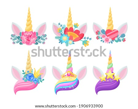 Unicorn horn, ears and flowers isolated vector design of magic horse animal heads with twisted horns, gold crowns and stars, hearts, rainbow bangs and floral wreaths. Wedding or child party invitation Foto stock ©