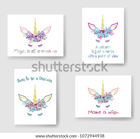 Unicorn horn in floral wreath tiara illustration on cards collection. Magic vector meme unicorn head with closed eyes, horn, flowers and quotes phrase text. Make a wish, magic is all around us quotes.