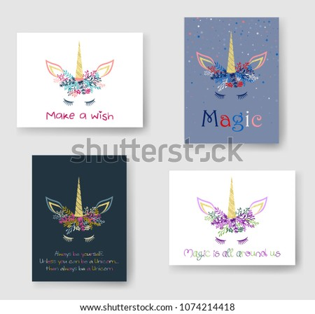 Unicorn horn in floral wreath tiara illustration on cards set. Doodle vector meme unicorn head with closed eyes, horn, flowers and quotes phrase text. Make a wish, magic is all around us quotes.