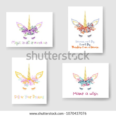 Unicorn horn in flowers and twigs wreath tiara illustration on cards collection. Creative vector meme unicorn head with horn, flowers and quotes phrase text. Follow Your Dreams, make a wish quote.