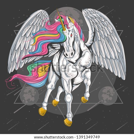 unicorn horse full colour with