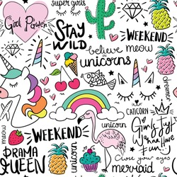 Unicorn, ice cream, pineapple, cherry and other items and some text seamless endless repeating pattern texture / Vector illustration design for fashion fabrics, textile graphics, prints and other uses