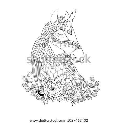 unicorn in floral zentangle for ...