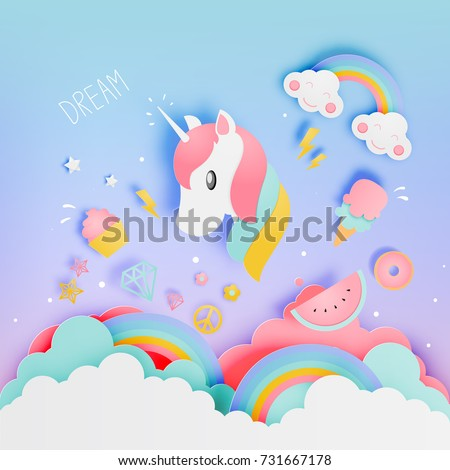 Unicorn in paper art style with various cute icons and pastel scheme vector illustration set
