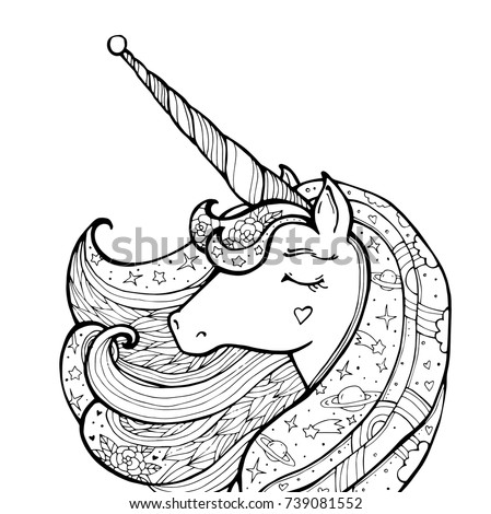 Stock Photo Unicorn isolated. Magical animal. Vector artwork. Black and white. Coloring book pages for adult and kid. Funny character. Zentangle Illustration. Boho, bohemian. Fairytale concept, amazing wonderland