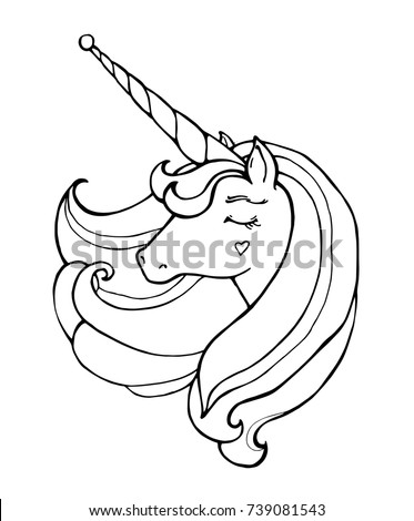 Stock Photo Unicorn isolated. Magical animal. Vector artwork. Black and white. Coloring book pages for adults and kids. Love bohemia concept for wedding invitation card, ticket, branding, boutique logo, label.