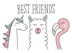 unicorn, llama and flamingo, best friend, illustration