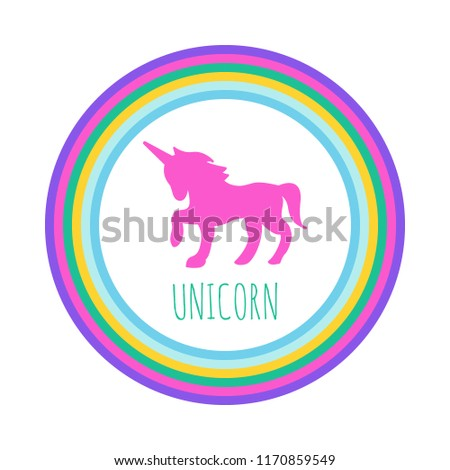 unicorn logo with rainbow circle, vector design