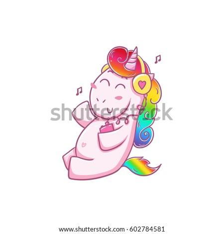 unicorn loves musicsticker