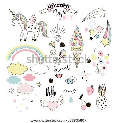 unicorn magic design element set