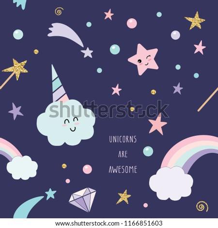 Stock Photo Unicorn magic seamless pattern background with rainbow, stars and diamonds.