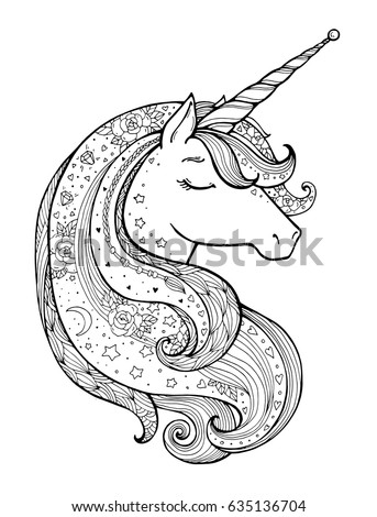 Stock Photo Unicorn. Magical animal. Vector artwork. Black and white. Coloring book pages for adults and kids. Funny character. Zentangle Illustration. Boho, bohemian. Fairytale concept, amazing wonderland