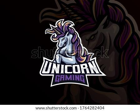 Unicorn mascot sport logo design. Unicorn horse mascot vector illustration logo. Mythology unicorn mascot design, Emblem design for esports team. Vector illustration