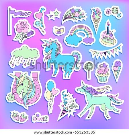 unicorn multicolor stickers