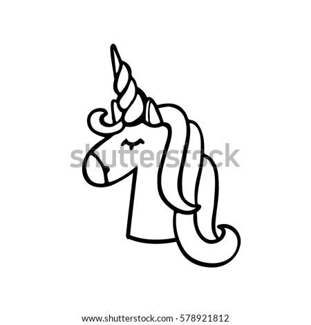 unicorn of black ink on a white