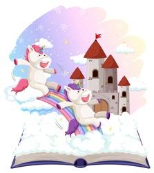 Unicorn on open book template illustration