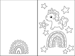 Unicorn on rainbow folded double side greeting card. Vector coloring page for kids. Cute unicorn character illustration. Folding card with doodle elements. Kids coloring card with text place template