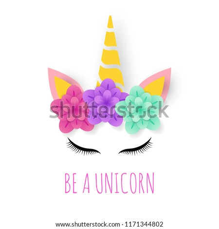 unicorn paper art logo, cute vector design