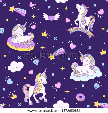 Unicorn seamless dark pattern with unicorns on a rainbow, on a cloud and on a donut. Endless background for textiles, notebooks, cards and children's birthday celebrations. Vector stock cute texture.