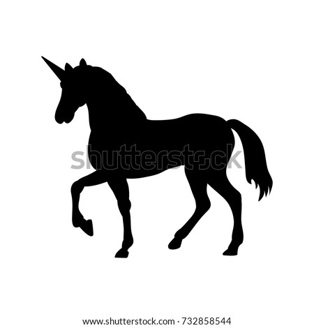 Unicorn silhouette mythology symbol fantasy. Vector illustration.