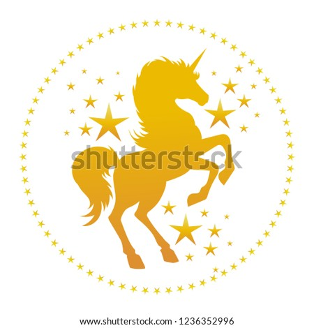 Unicorn silhouette with stars. Vector gold unicorn silhouette, mysterious fantasy fairy tale unicorns horse isolated on white