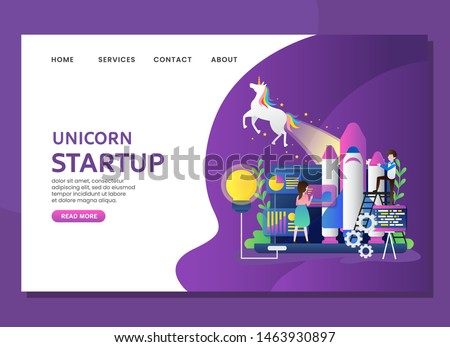 Unicorn startup bussiness with man and woman configure rocket
