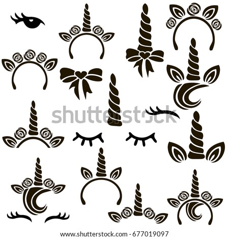Shutterstock Unicorn symbols vector set.