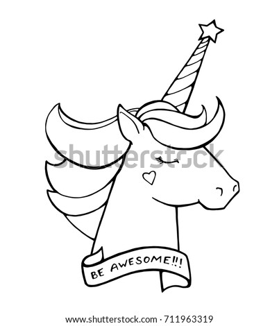 Stock Photo Unicorn. Text Be awesome. Magical animal. Vector artwork. Black and white. Coloring book pages for adults and kids. Love concept for wedding invitation card, ticket, branding, boutique logo, label.