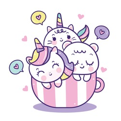 Unicorn vector and friend in cup, Cute cat unicorns cartoon, pony child, bear friendship girly doodles Valentines day (Kawaii animal) Illustration of pretty character in pastel color,Fairytales horse.