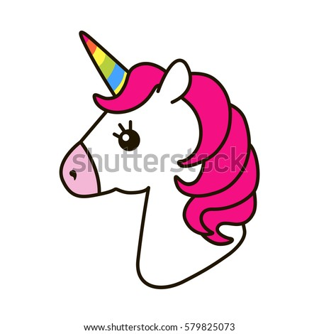 Unicorn vector icon isolated on white. Head portrait horse sticker, patch badge. Cute magic cartoon fantasy cute animal. Rainbow horn, pink hair. Dream symbol. Design for children