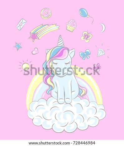 Stock Photo Unicorn, vector image. Dream symbol. Design for children
