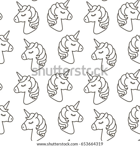 Unicorn Vector Seamless Pattern. Horse Head Sleep. Black And White Outline  Icon Isolated.