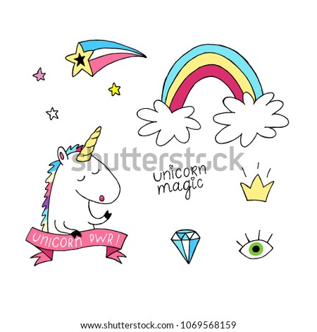 Unicorn vector set. Hand drawn magic rainbow, crown, star, head horse. Fashion modern collection, patch badge, sticker, design for print notes, card, notebook, fabric textile, poster